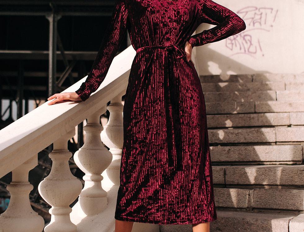 Платье велюровое бордо