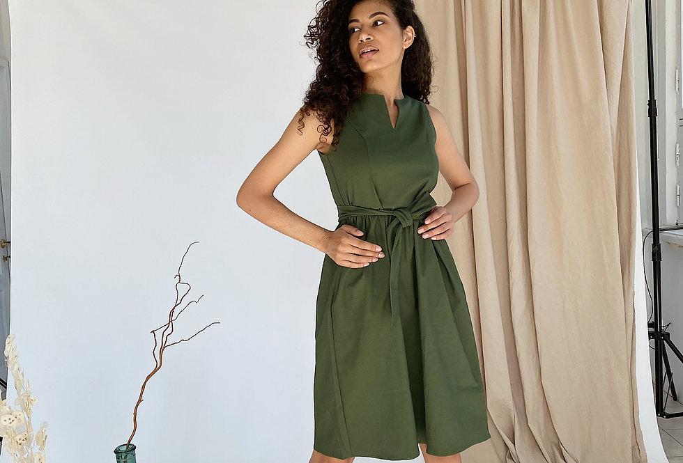 Платье Колокольчик джинсовое с карманами хаки