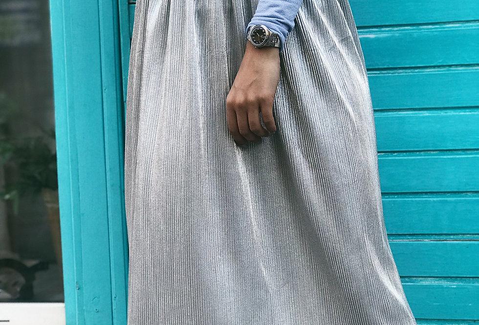 Юбка плиссированная серебро