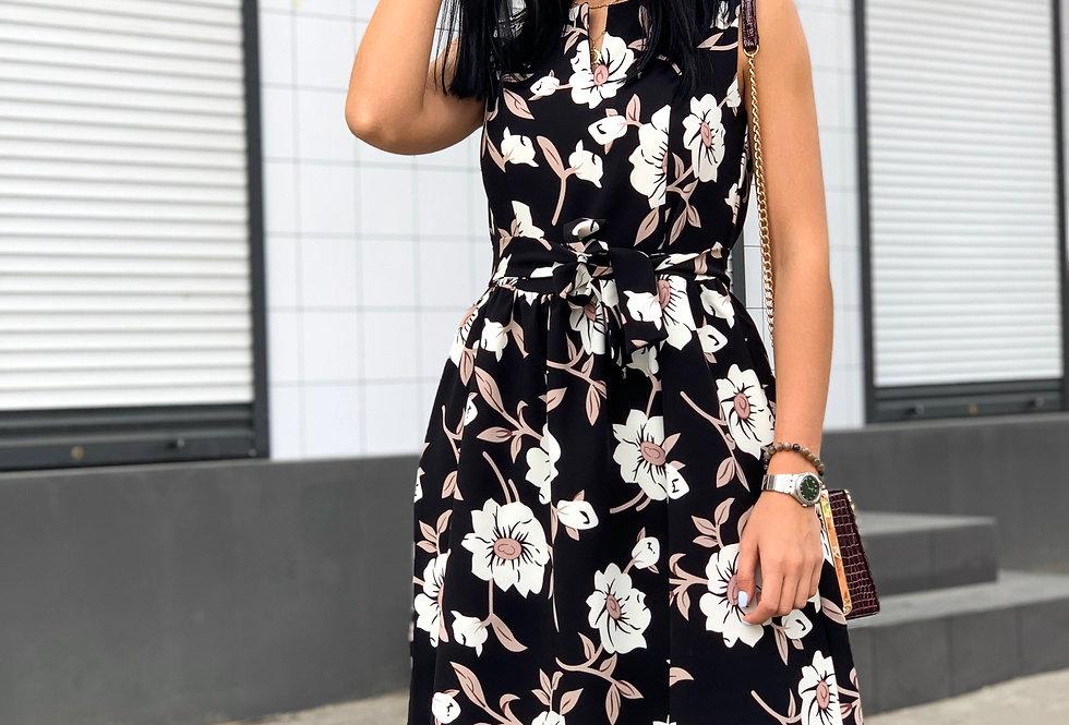 Платье Колокольчик в яркий цветочный принт черное