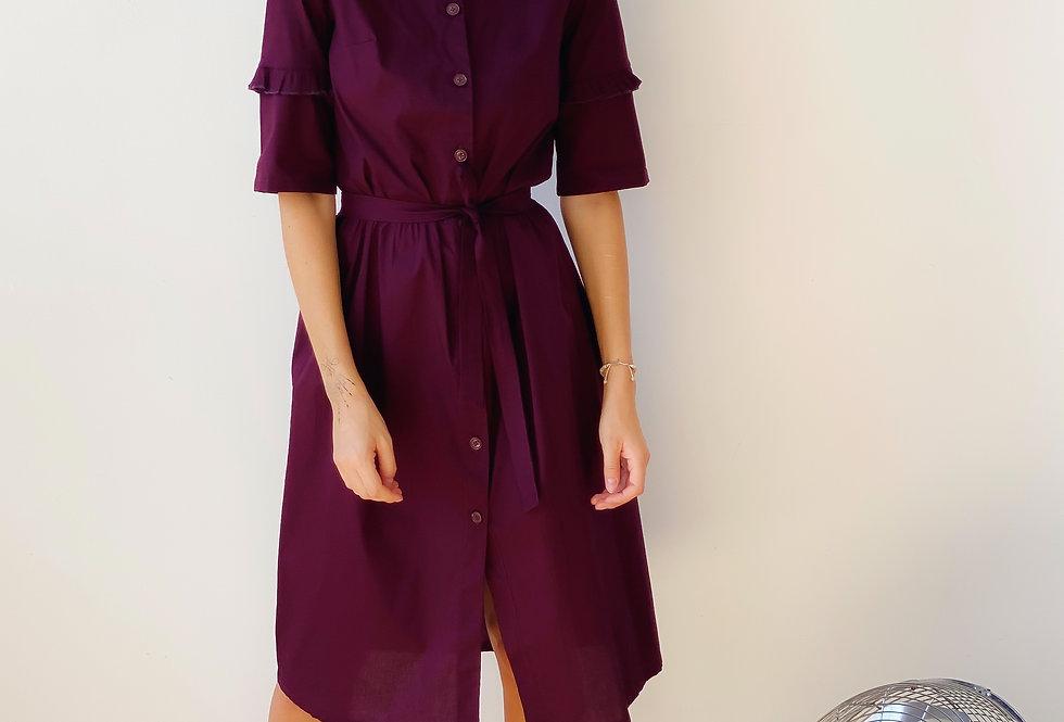 Платье из хлопка с рюшами на рукавах слива