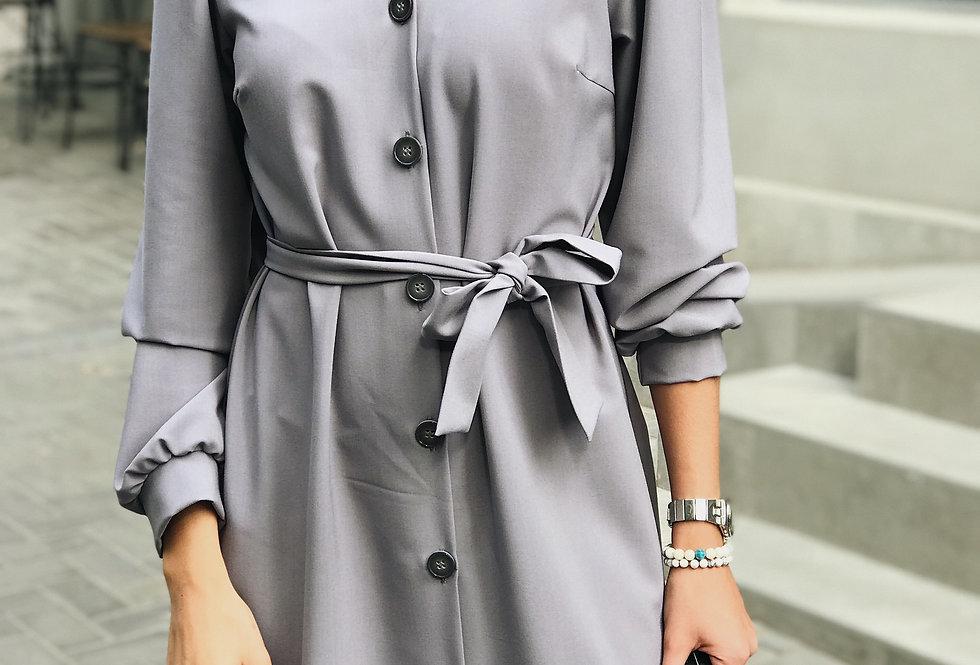 Платье Тиар с поясом серое