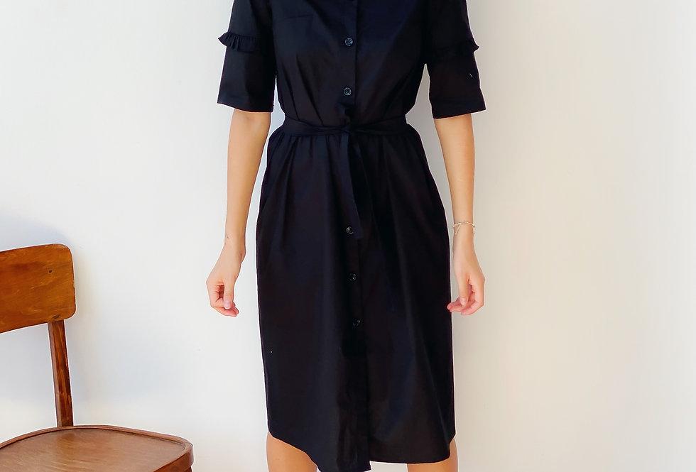 Платье из хлопка с рюшами на рукавах чёрное