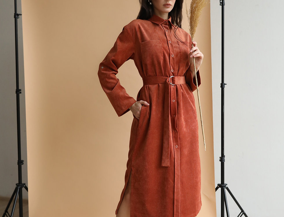 Платье-рубашка из микровельвета рыжее