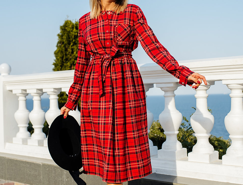 Платье Карман Рюш красное