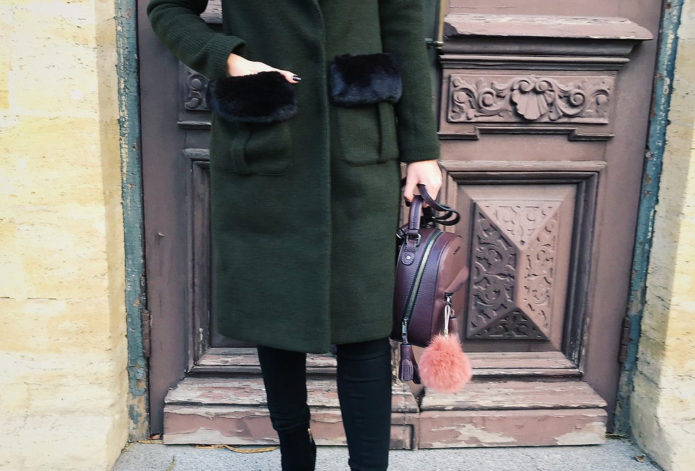 Пальто зимнее с мехом хаки