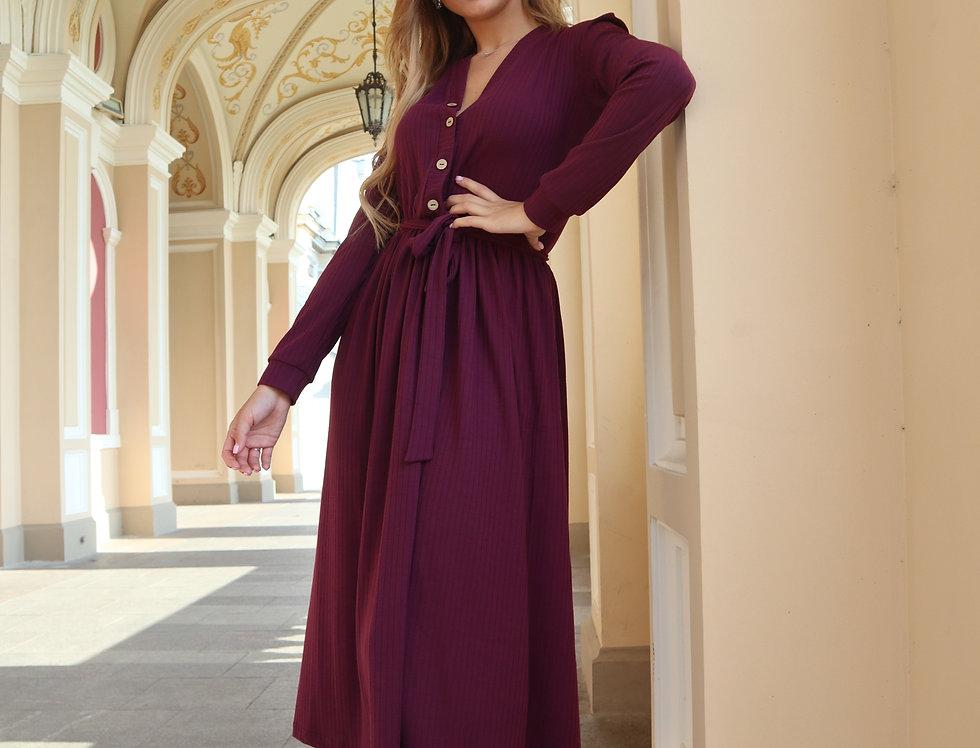 Платье из трикотажа-резинки мустанг слива