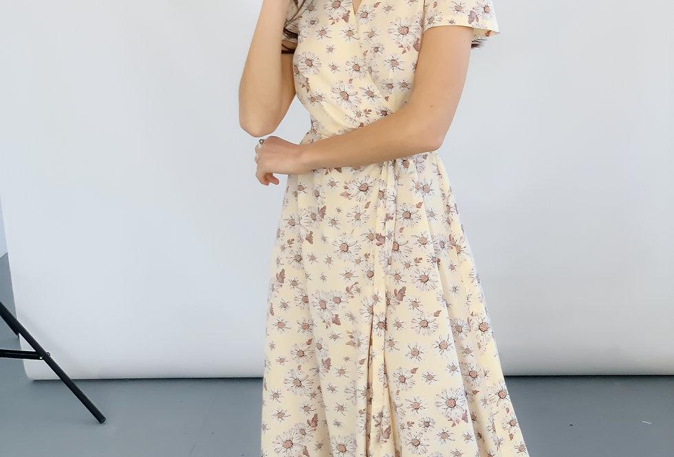 Платье софт в ромашки желтое