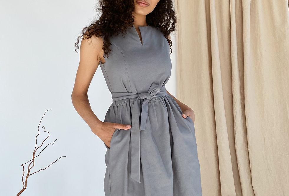 Платье Колокольчик джинсовое с карманами серое