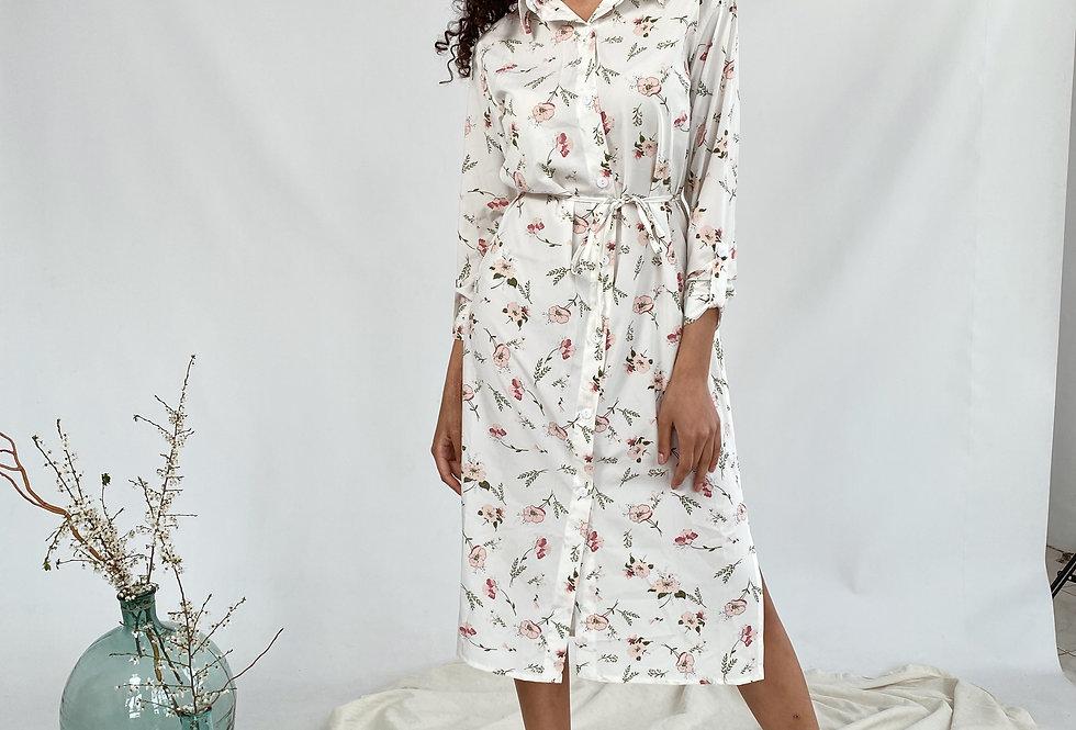 Платье-рубашка из софта в цветочный принт белая