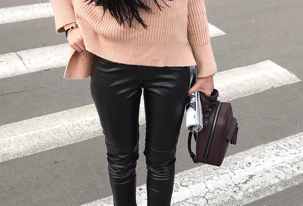 Лосины кожаные черные