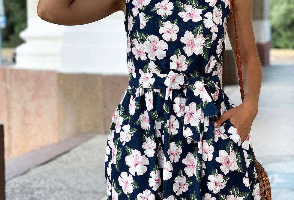 Платье Колокольчик джинсовое цветочное с карманами синее