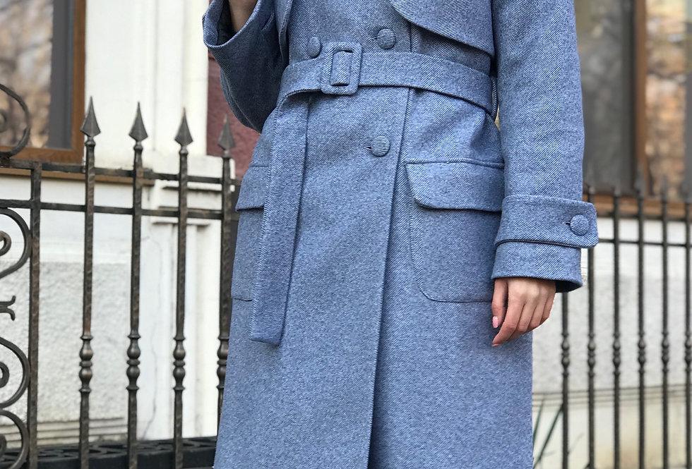 Пальто зимнее двубортное синее