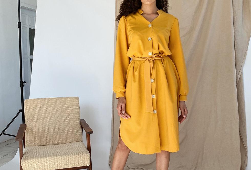 Платье Тиар с поясом горчица