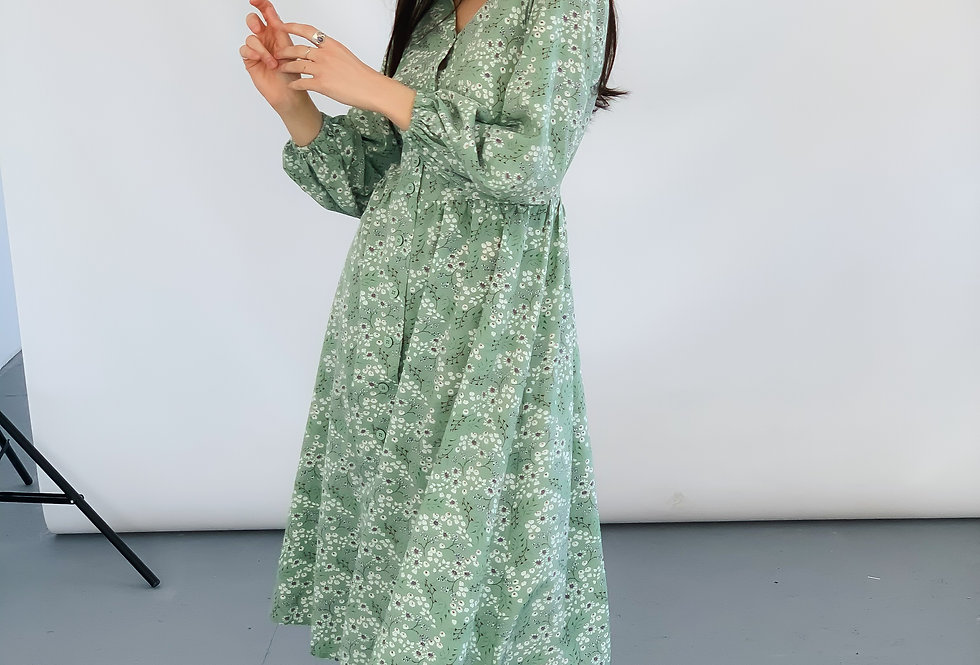 Платье из софта Весна бирюза