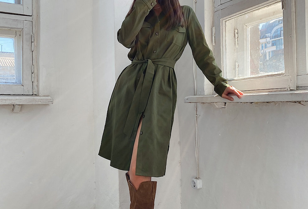 Платье-рубашка Сафари с поясом хаки
