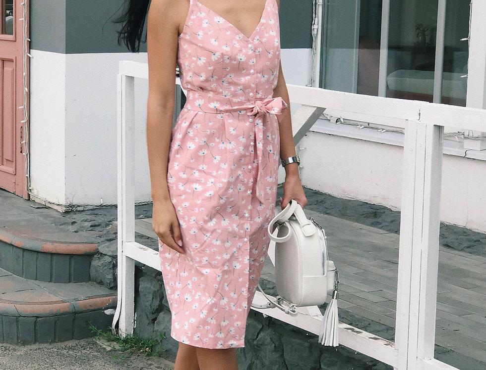Сарафан Одуванчик на жемчужных пуговичках розовый мелкий