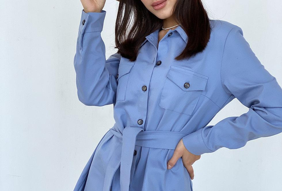 Платье-рубашка Сафари с поясом голубое