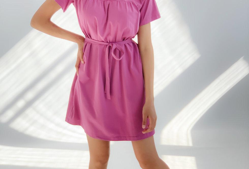 Платье-футболка оверсайз летнее из турецкого хлопка розовая