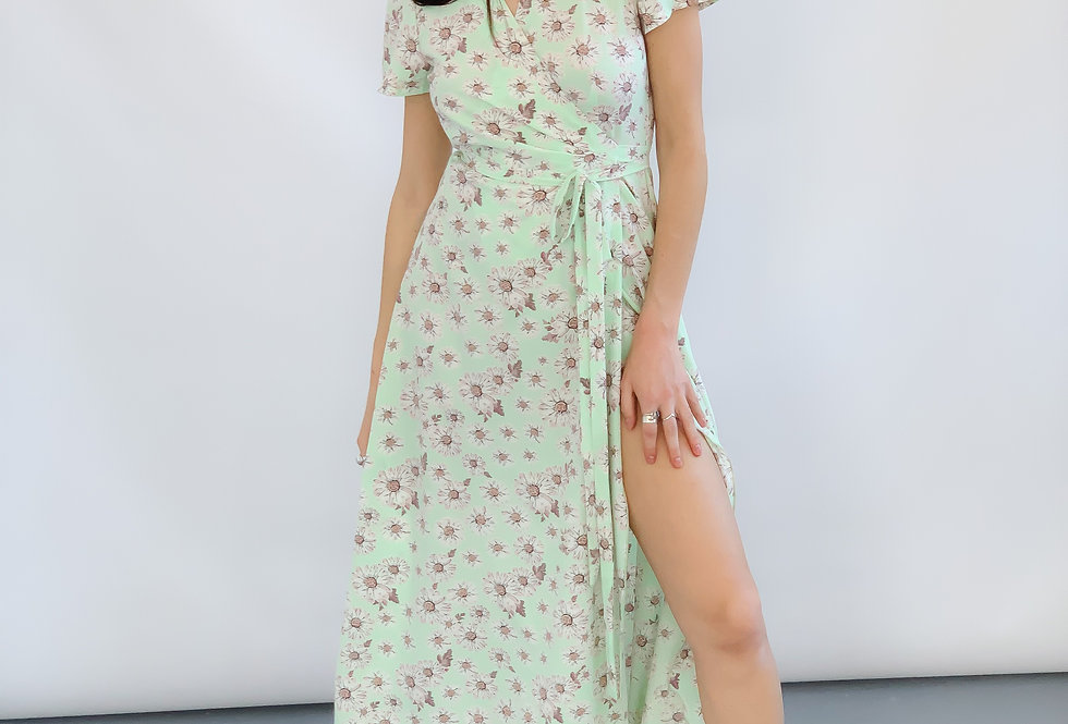 Платье софт в ромашки бирюза