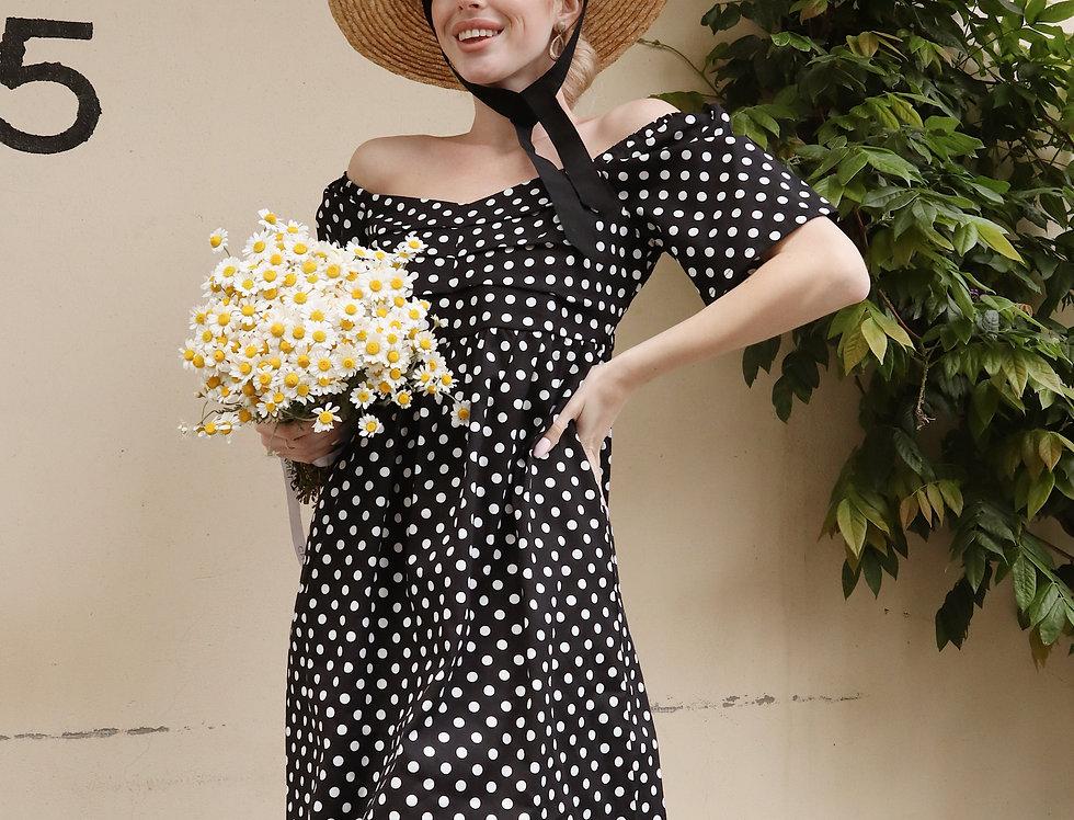Платье Мальва в горошек черное