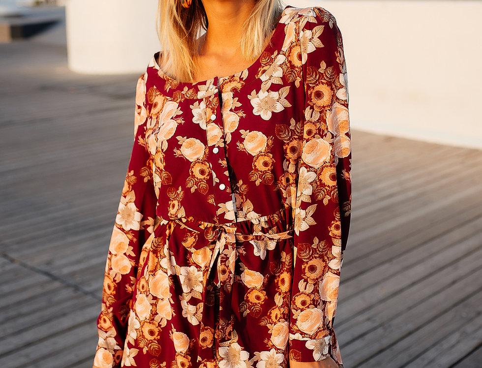 Платье софт в бордовый цветок
