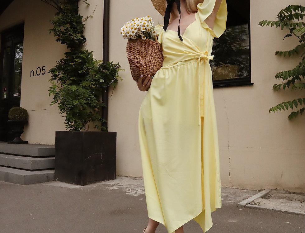 Платье Ассиметрия рукава крылышки желтое