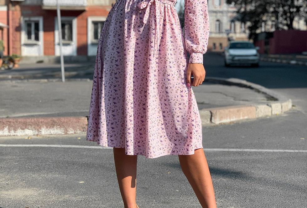 Платье в цветочный принт на кнопках розовый