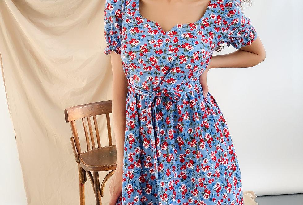 Платье Сердечко лен цветочный принт голубое