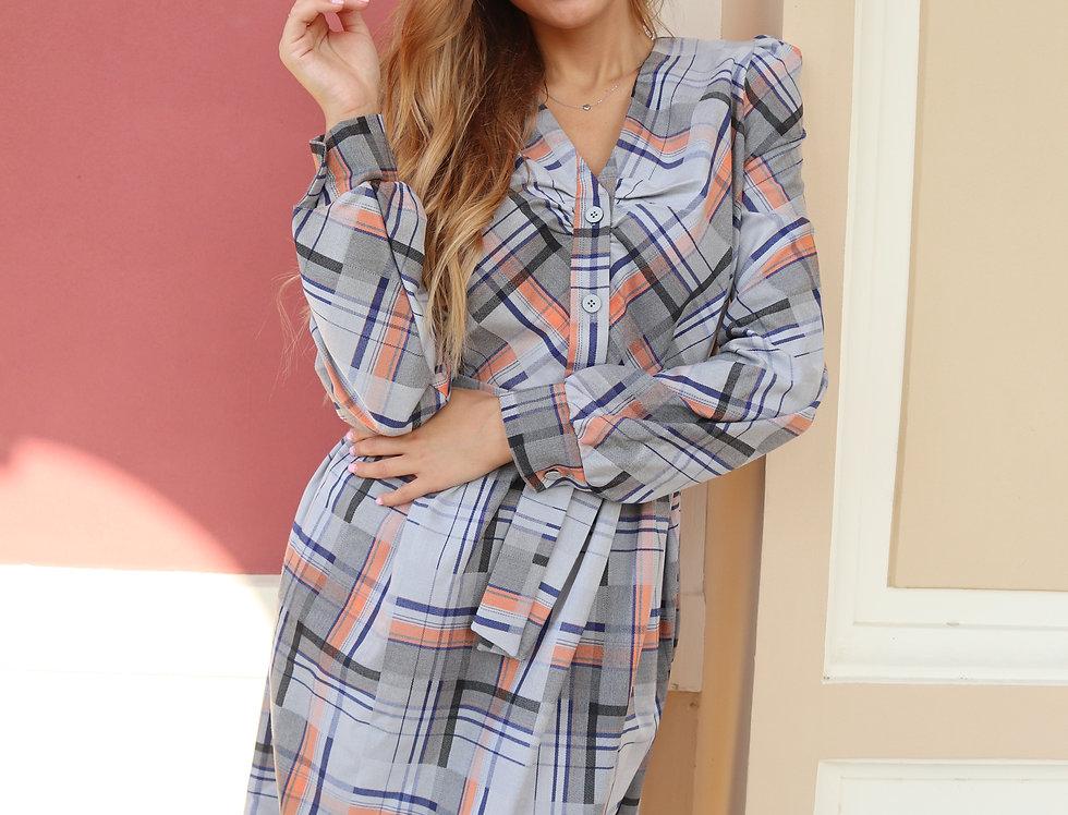 Платье в клетку с карманами и поясом серо-оранжевое