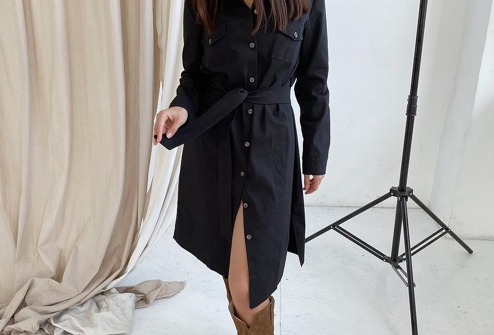 Платье-рубашка Сафари с поясом черный
