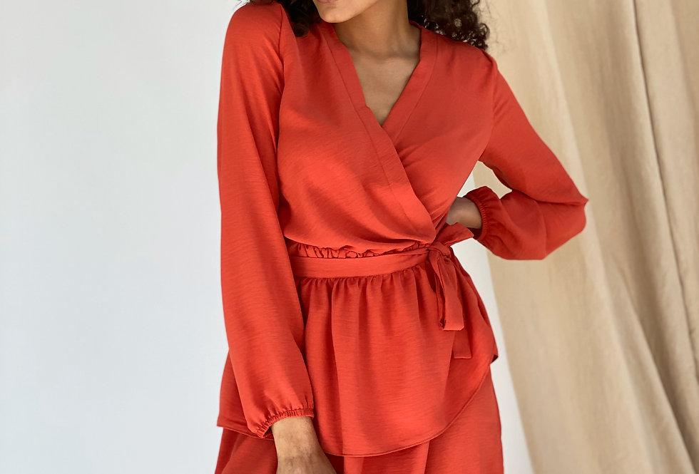 Платье софт жатка со съёмной баской коралловое