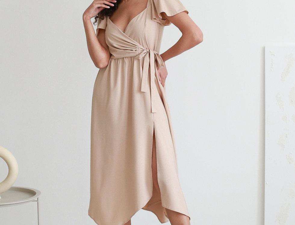 Платье Ассиметрия рукава крылышки беж