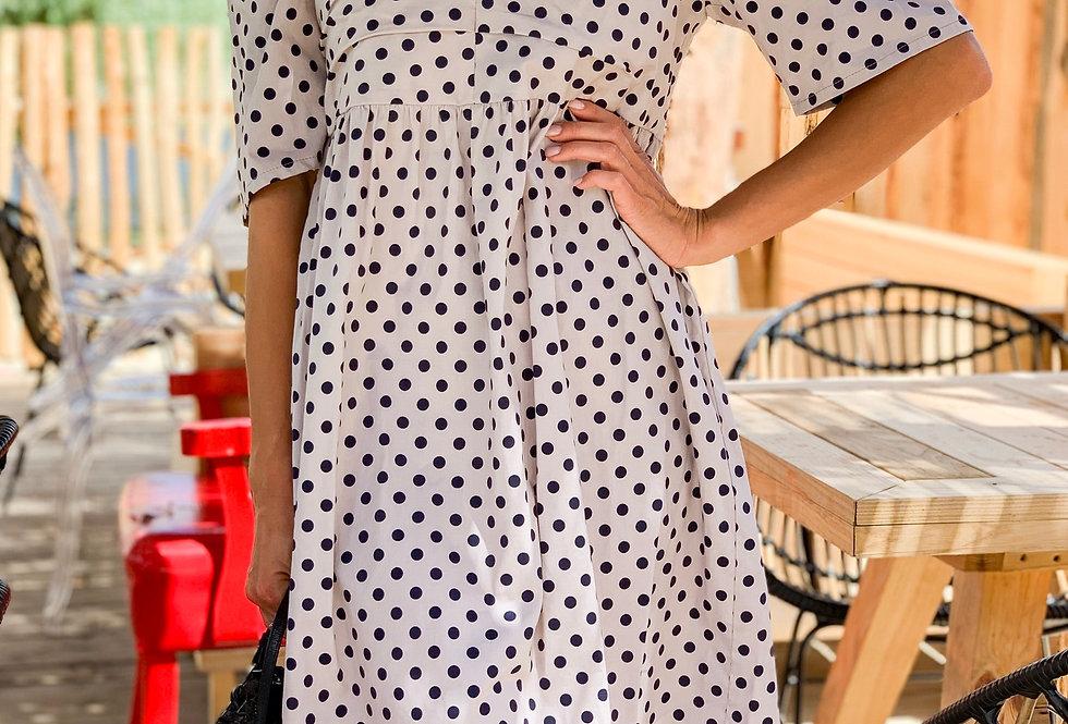 Платье Мальва в горошек бежевое
