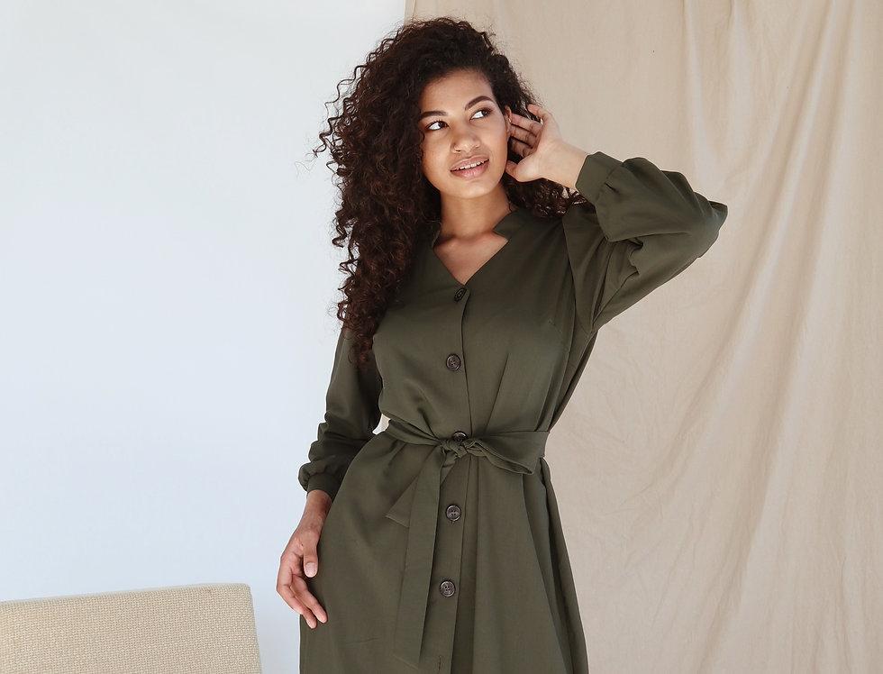 Платье Тиар с поясом хаки