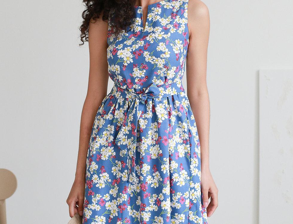 Платье Колокольчик джинсовое с карманами ромашки голубое