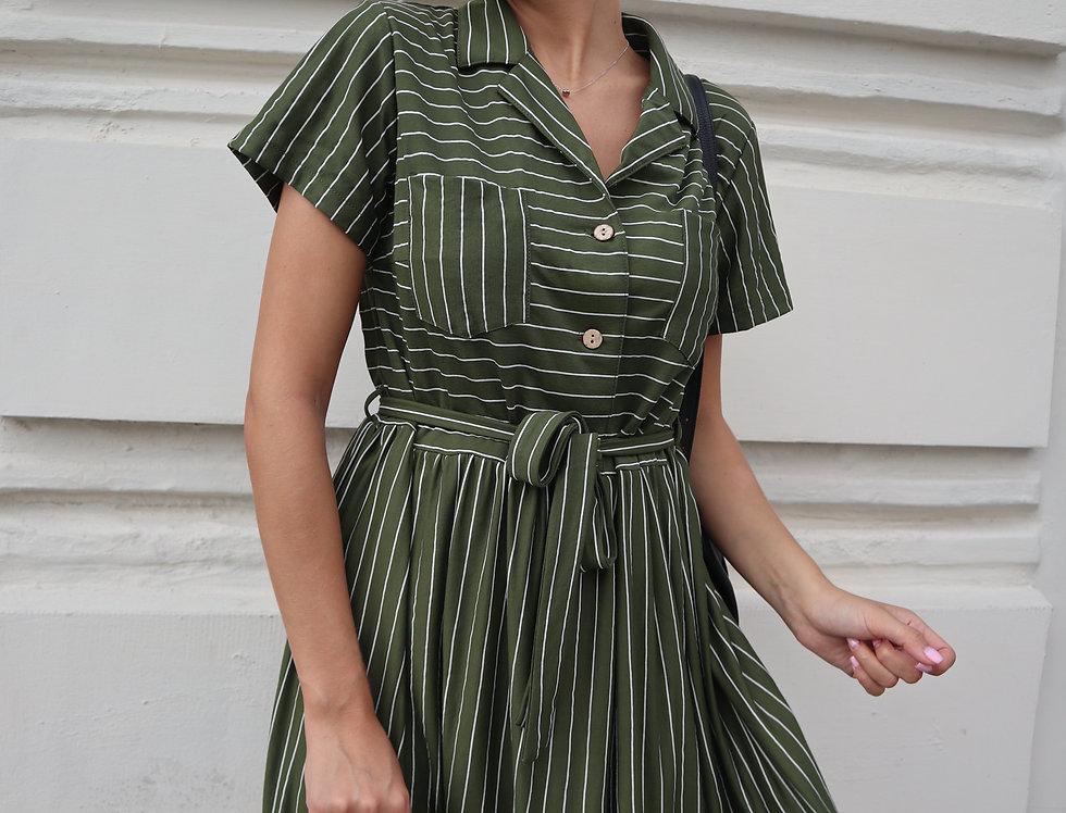 Платье в полоску из легкого трикотажа хаки