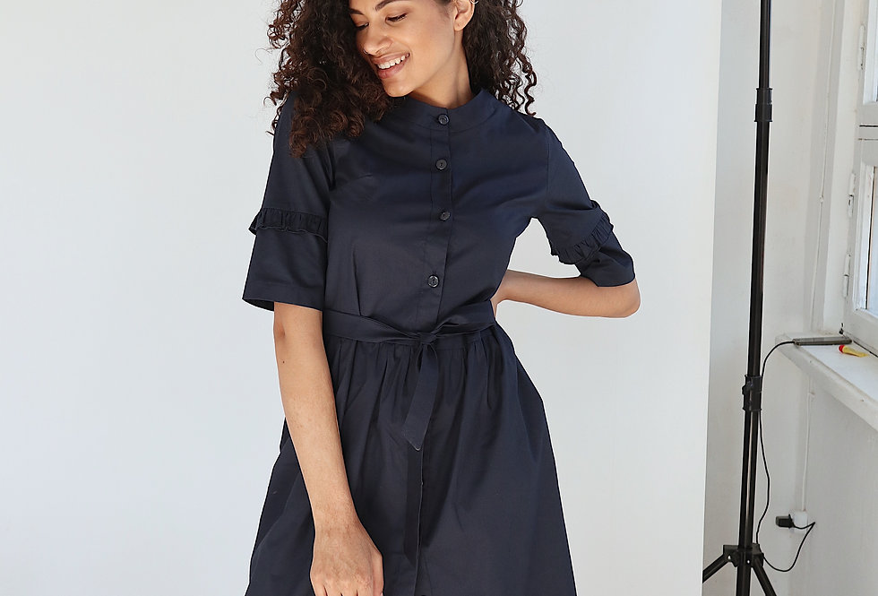 Платье из хлопка с рюшами на рукавах синее