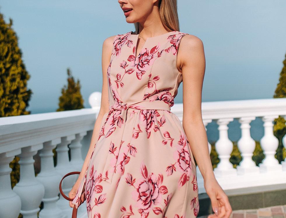 Платье Колокольчик в яркий цветочный принт бежевое