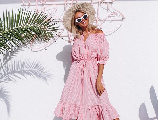 Платье Круизное реглан-полоска розовое