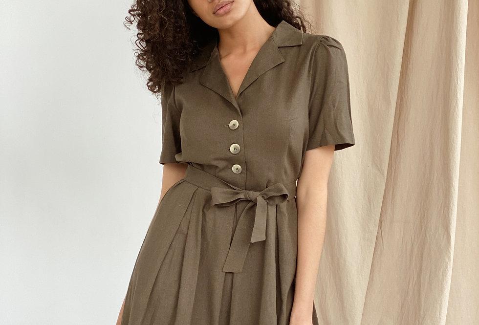 Платье пышный рукав на пуговицах хаки
