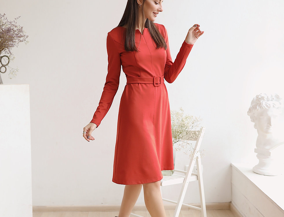 Платье Джерси оранжевое