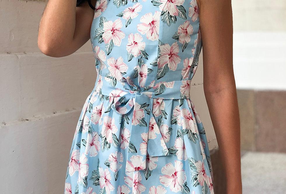 Платье Колокольчик джинсовое цветочное с карманами голубое