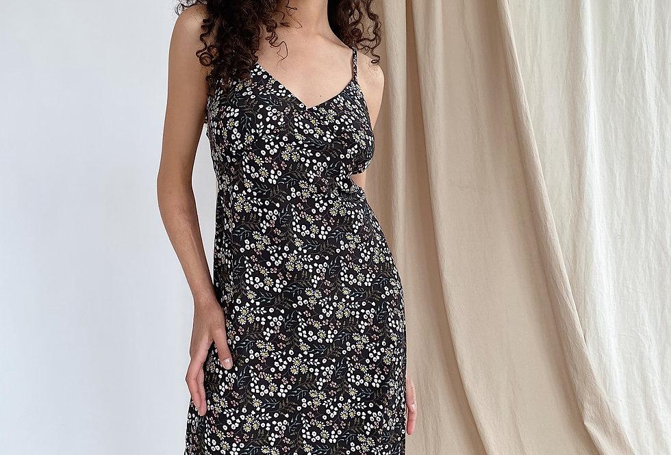 Платье-комбинация в цветочный принт черное