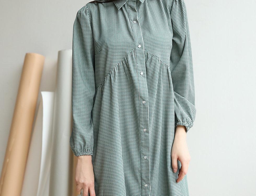 Платье из вельвета гусиная лапка зеленое