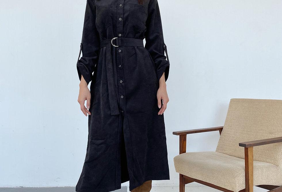 Платье-рубашка из микровельвета черное