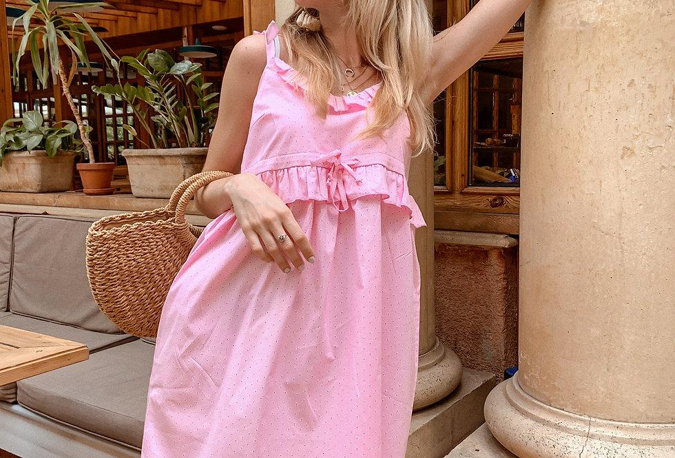Сарафан на кулиске из поплина с оборкой розовый