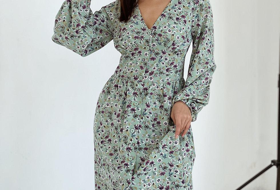 Платье из софта Весна с цветами бирюзовое