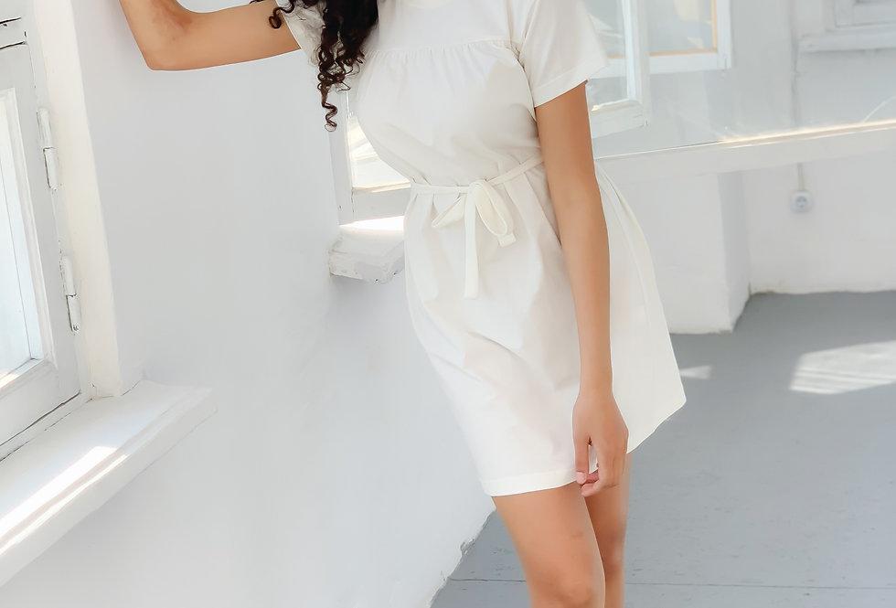 Платье-футболка оверсайз летнее из турецкого хлопка молоко