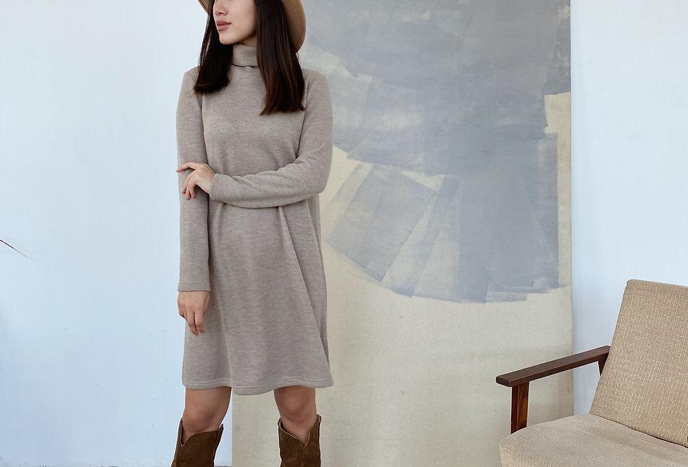 Платье Вязка под горло бежевое